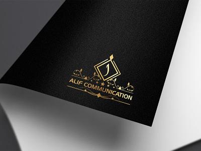 Alif Communation LOGO animation businesscard illustrator clean illustration alif communation logo alif communation logo logo typography graphic design branding
