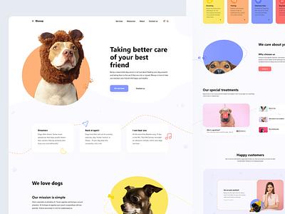 Blooop dog pets dogs modern homepage design ui flat minimal clean web design