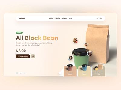 Coffeein. coffee addict coffee love 3d coffee product design product page minimal web design ui