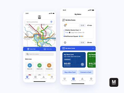 DC Metro App smartrip ui design card management bus train metro card card payment transportation app ios dc metro metro dc
