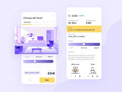 """eMop — The """"Uber for Residential Cleaning"""" uxdesign application app design web design website ui illustration design ux logo ecommerce delivery app branding booking flow app"""