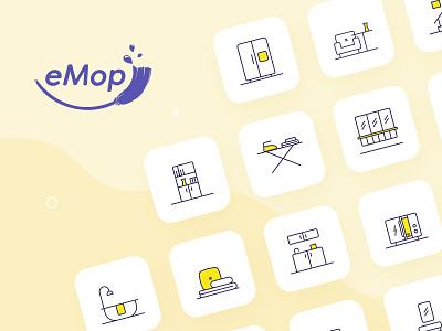 eMop icons illustration design visual identity system visual identity illustrator iconography uxdesign design uxui ux illustration icon set icons