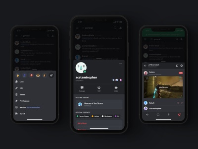 iOS Bottom Sheets discord product design modal action sheet bottom sheet voice profile dark dark mode app ui
