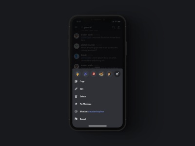iOS Bottom Sheets discord product design modal action sheet bottom sheet voice profile dark dark mode app ui