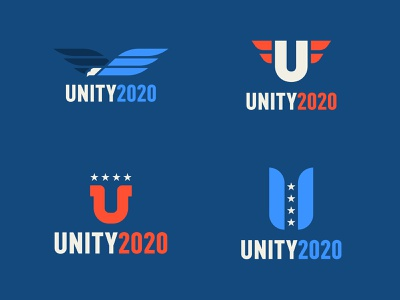 UNITY 2020 four star 4 star star stars campaign logo u eagle mcraven yang blue white red election president 2020 unity