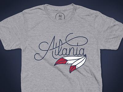 Atlanta Script T-Shirt wordmark athlete bat font feather baseball sports script georgia braves atlanta atl
