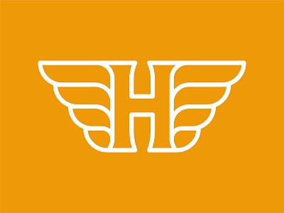 The Letter H flight elevate soar fly badge orange henry waylon logo wings h