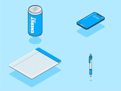 Office Essentials ilustrator desktop aluminum can mechanical pencil phone app illustration isometric illustration isometric desk notepad energy drink office space pen pencil iphone phone office