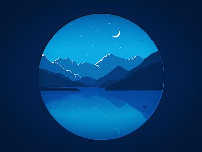 Blue Landscape melancholic melancholy midnight night branding illustration orb landscape snow snow caps stars bird lake water blue moon hills mountains