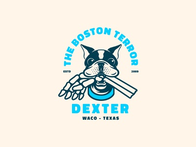 Dexter illustration illustrator sports logo mascotlogo mascot identity brand logo vector hand skeleton texas waco terrier boston dog pet badge