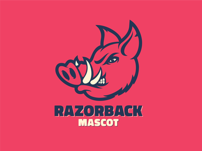 Razorback Mascot teeth tusk ears esports basketball hockey baseball football wildhog illustrator illustration branding logo sports branding sports logo hog pig mascot