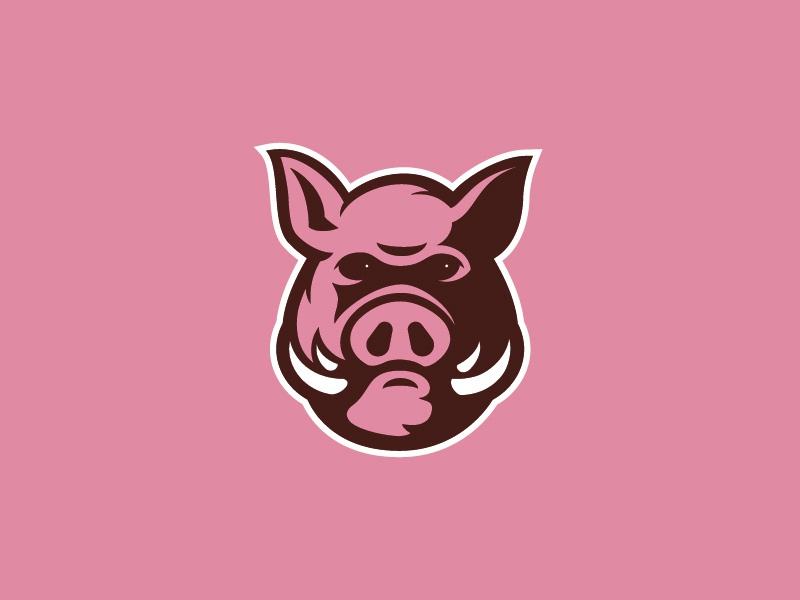 Piggy mascot sports logo logo tusk pink boar pig