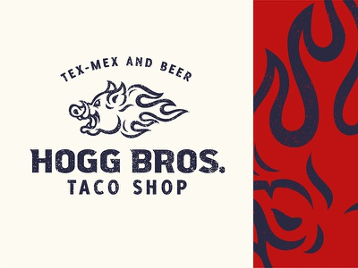 Taco Shop taco tusk beer tex-mex fire flames mascot logo swine piggy boar hog pig