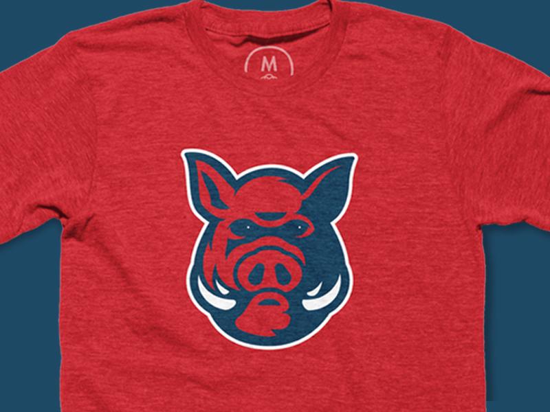 Wild Hog wildhog red tshirt sports design sports logo tusk logo mascot pig hog