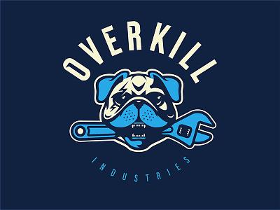 Overkill Shop Dog photoshop shop garage lightning t shirt sports logo logo mascot pet wrench dog pug