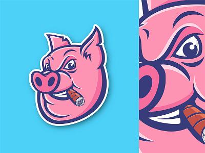 Pig Mascot illustrator sports logo pink logo boar mascot piggy pigs pig