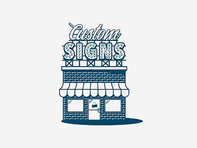 Custom Sign Shop window storefront store canopy brick lights signage print graphics shop custom signs