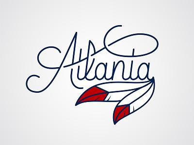 Atlanta atl sports logo atlantic tshirt feathers feather script sports baseball braves atlanta