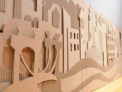 Corrugate Sculpture Skyline: Cincinnati sculpture relief