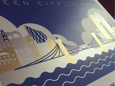 Queen City of the Ohio Metallic Screenprint architecture illustration art print screenprint
