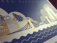 Queen City of the Ohio Metallic Screenprint