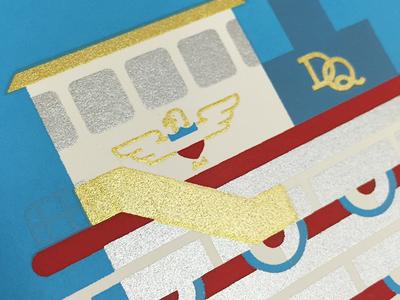 In-Progress detail, Delta Queen illustration art print screenprint