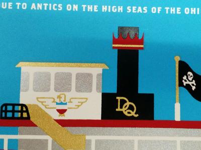 In-Progress detail 2, Delta Queen screenprinting illustration art print