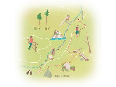 Old Mill Loop ancient east ireland illustrated map editorial illustration map illustration illustration