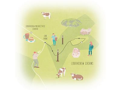 Loughcrew Cairns ancient east ireland illustrated map editorial illustration map illustration illustration