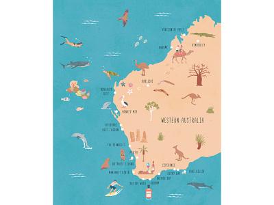 Western Australia western australia australia illustrated map editorial illustration map illustration illustration