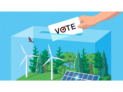 US election - Clean energy clean energy us election editorial illustration illustration