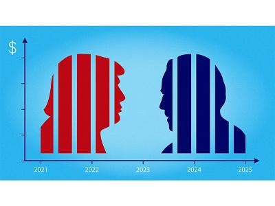 US election - Economy economy chart biden trump editorial illustration illustration