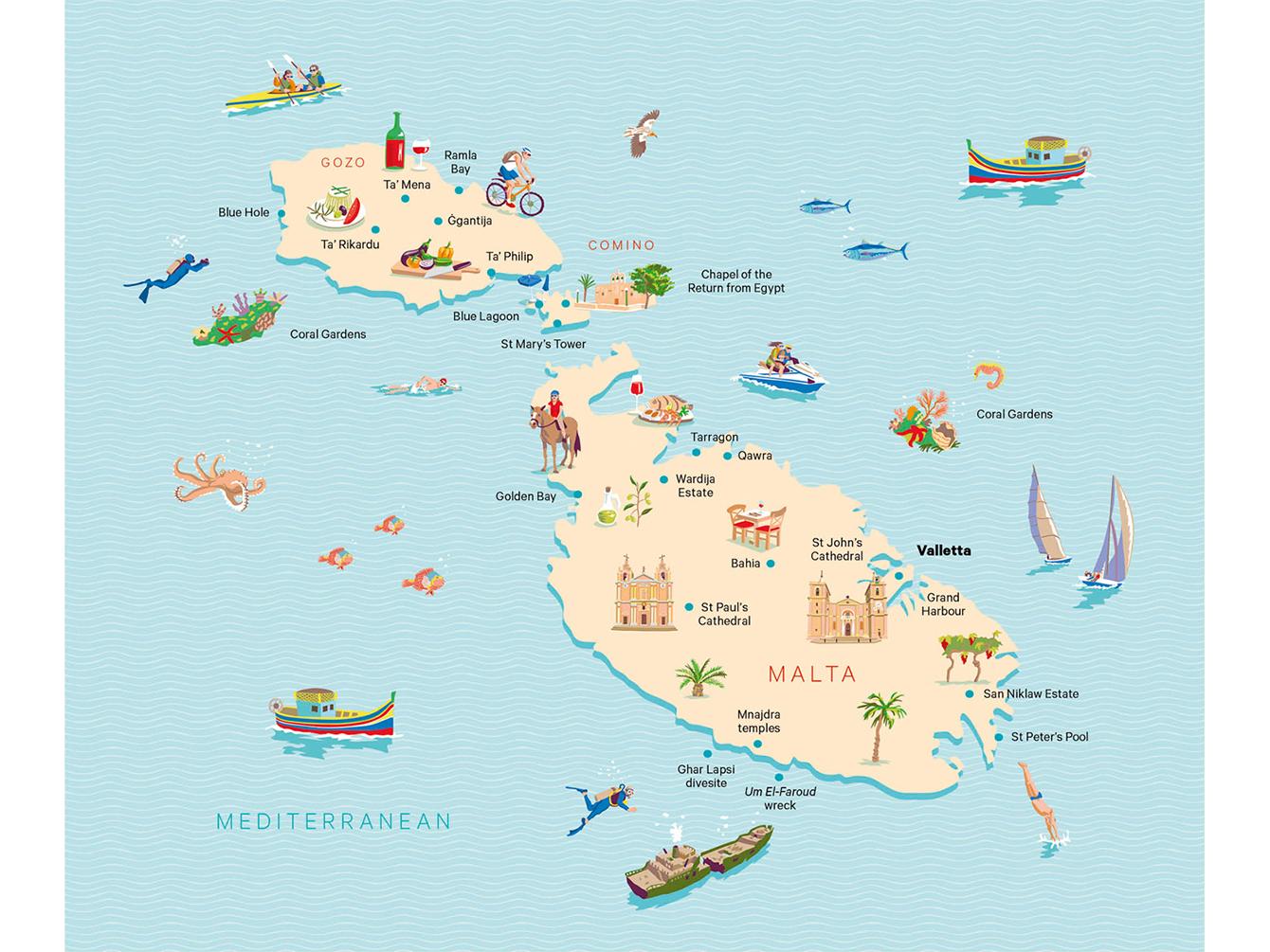 Malta illustrated map mediterranean malta map illustration illustration editorial illustration