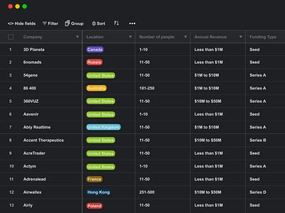 Dark Mode Airtable design web funds startups hd darkmode airtable