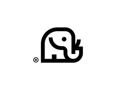 Bold elephant geometric line art elephant modern minimalist logo bold simple