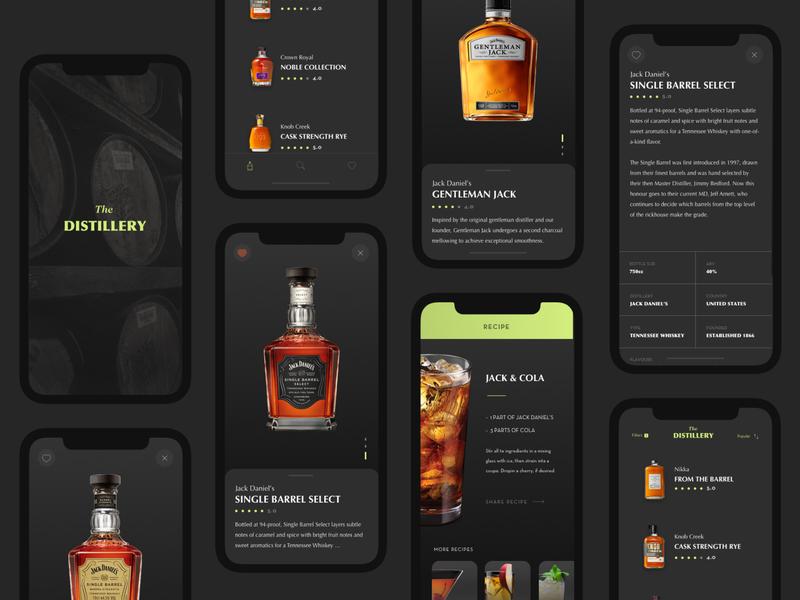 The Distillery App UI whiskey ui design design simple recipe dark application app