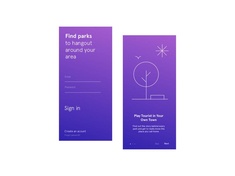 Park finder Sing In ui design ui application mobile app mobile parks sign in
