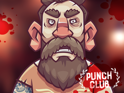 Fighter 1. Punch Club art beard man warrior game funny character illustration vector