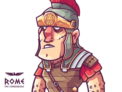 Centurion barbarian rome warrior game funny character illustration vector