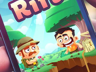 Rift  game character funny travelers vector illustration screen app