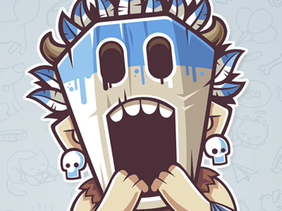 Mask 2 fear cry vector sticker mask illustration funny character aborigine