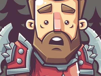 Warrior puzzled surprise warrior vector legends league illustration game funny fan-art character