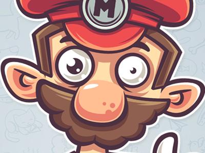 Mario mushrooms mario sticker art fan funny character illustration vector