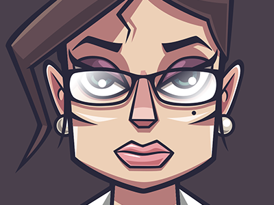 Assistant glasses girl secretary woman business vector man illustration game funny character