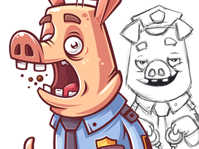 Boars fear pig boar funny character game illustration vector