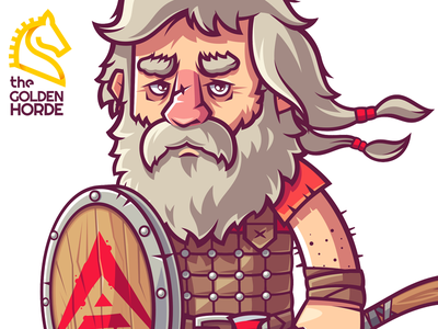 Mike Doty (Blockchain Heroes) beard heroes blockchain barbarian man warrior game character funny illustration vector