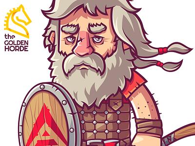 Mike Doty (Blockchain Heroes) beard heroes blockchain barbarian man warrior game character funny illustration vector