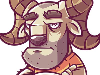 Ram brend ram logo design game character funny illustration vector