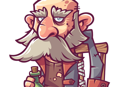 old pirate pirate design art man game character funny illustration vector
