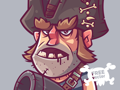 Pirate pirates man funny game character illustration vector